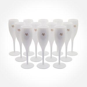 Champagneglas - Vita med Hydropoolemblem i guld - 12 stycken