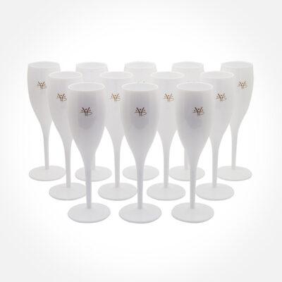 Champagneglas – Vita med Hydropoolemblem i guld – 12 stycken